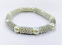 Pearl and Silver Stretchy Bead Bracelet Kit -  Easy Make Jewellery Kit for Beginners